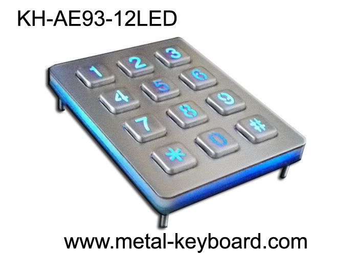 Back light Metal Numeric Keypad in 3x4 Matrix 12 Keys , Stainless Steel Keypad