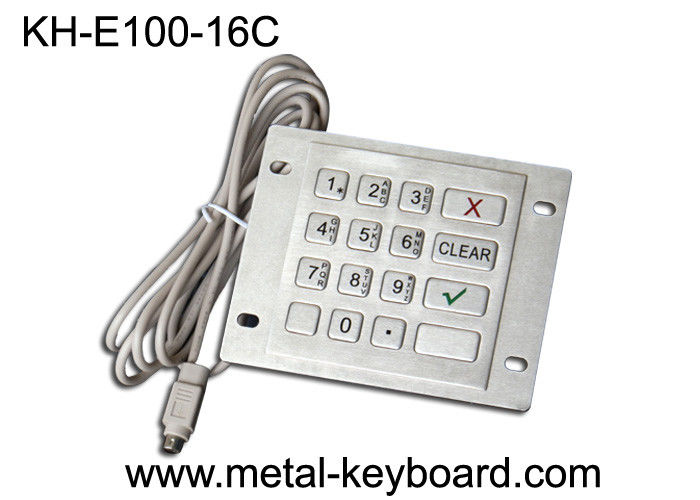 Water Resistant Metal Keypad , PS /2 Interface stainless steel keypad 16 Keys