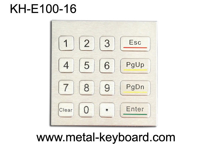 Rugged Waterproof Access Control Keypad , Stainless Steel Numeric 16 Key Keypad